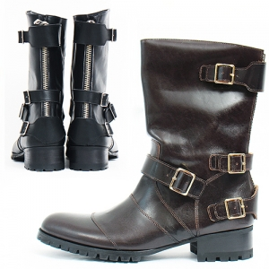 Handmade 4 Buckle Belted Back Zipper Long Boots