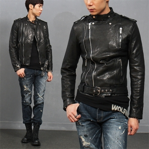 Neck Button Zipper Belt Genuine Lambskin Leather Jacket