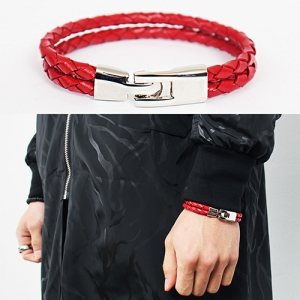Twisted Double Red Leather Steel Clip Bracelet 134