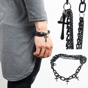 Hardcore Black Multi Chain Cross Draping Bracelet 98