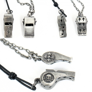 Silver Tone Skull Cross Whistle Steel Necklace 12