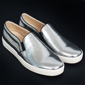 Handmade Silver Kip Leather Slip on Loafers 5335