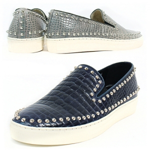 Handmade Studs Crocodile Pattern Leather Slip On Loafers 5339