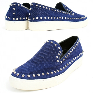 Handmade Studs Blue Snake Pattern Suede Leather Slip On Loafers 5339