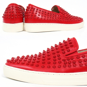 Handmade Red Studs Slip on Leather Loafers 5340