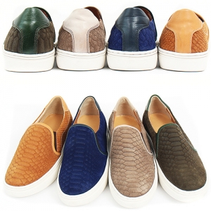 Handmade Snake Skin Pattern Suede Leather Slip on Loafers 5411