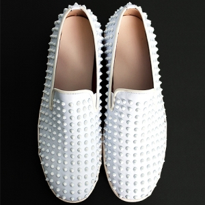 Handmade White Studs Slip on Loafers 5340