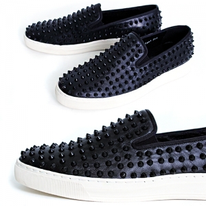 Handmade Black Studs Slip on Loafers 5340