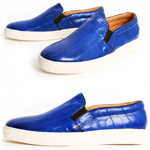 Handmade Blue Eel Skin Slip on Loafers 5335