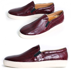Handmade Wine Eel Skin Slip on Loafers 5335