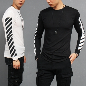 Striped Sleeve Spandex Stretchable Long Sleeve T Shirt