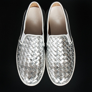 Handmade Silver Weave Pattern Kip Leather Slip On Loafers 5335