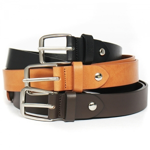 Silver Tone Square Buckle Classic Adustable Leather Belt