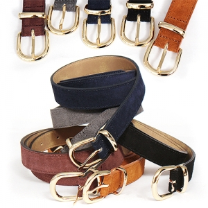 Suede Leather Adustable Color Gold Buckle Belt