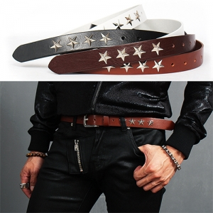 Edge Design Silver Tone Star Studs Leather Belt