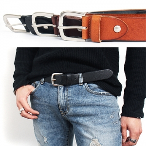 Gunmetal Tone Buckle Leather Belt