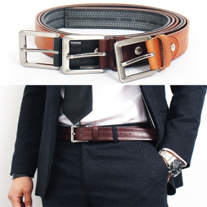 Stitched Styling Gunmetal Tone Buckle Leather Belt