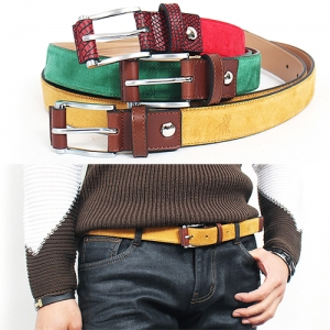 Vivid Color Suede Leather Belt