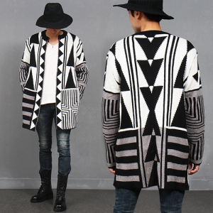 Multi Pattern Open Front Knit Long Cardigan