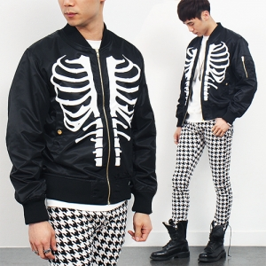 Skeleton Printing Pocket Blouson Slim Jacket