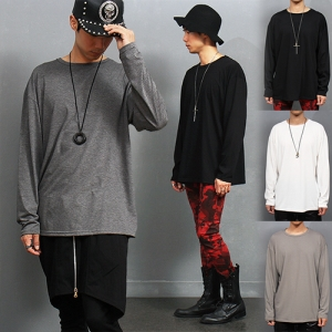 Loose Fit Boxy Crew Neck Long Sleeve T Shirt
