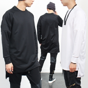 Neoprene Long Back Hem Long Sleeve T Shirt