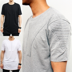 Ribbed Pad Embossed Shoulder Long T Shirt