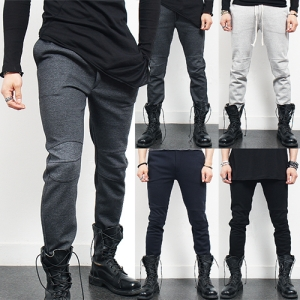 Slim Fit Knee Lining Strap Sweatpants
