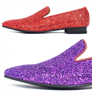 Handmade Red & Purple Crystal Glitter Encrusted Loafers 5271