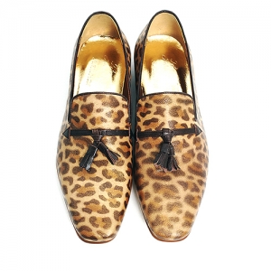 Handmade Leopard Print Leather Loafers - Tassels Styling 5227
