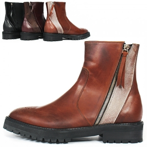 Handmade Double Diagonal Zipper Leather Suede Combi Boots 5432