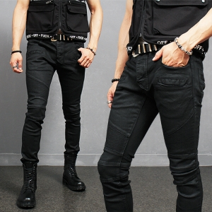 Super Slim Fit Black Wax Coated Seaming Bikers Skinny Jeans 8087