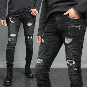 Distressed Destroyed Seaming Zipper Skinny Biker Jeans