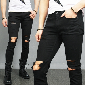 Destroyed Knee Open Distressed Slim Black Jeans 367