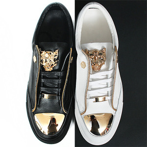 Gold Steel Toe Zipper Styling Tiger Logo Leather Sneakers A013