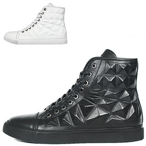 Pyramid Embossed Cushion Leather High Top Sneakers 009