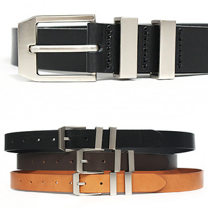 Silver Tone Double Steel Buckle Leather Skinny Belt 2