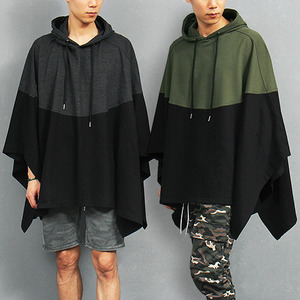 Contrast Color Cotton Hood Poncho Cape