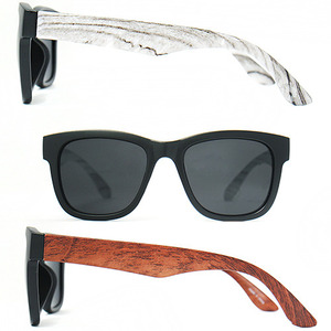 Color Wood Pattern Temple Matte Sunglasses - 7382