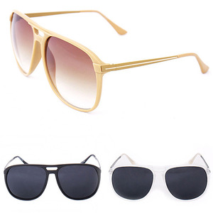 Aviator Style Double Bridge Plastic Sunglasses - 8410