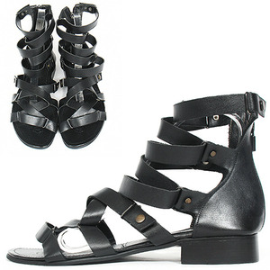 Gladiator Handmade Leather 1 Inch Heel Black Sandals 0088
