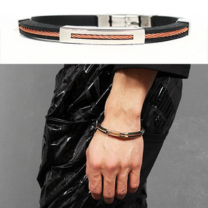Twist Copper Core Black Rubber Bracelet 191