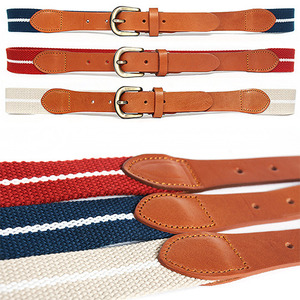 White Stripe Webbing Leather Combi Adustable Belt