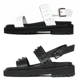 Handmade Leather Pyramid Studs Buckle Strap Sandals 5637