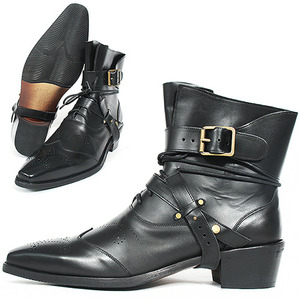 Handmade Leather Perforated Styling Buckle Belted Boots 0065-33