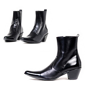 High Top Leather Boots in Black - 1858