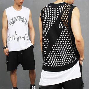 Street Fashion Lightening Mesh Holes Back Sleevelss Tank