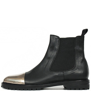 Handmade Black Leather Silver Tone Front Chelsea Boots 4091