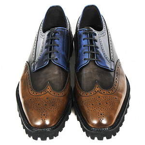 Blue Brown Handmade Leather Wingtip Brogues 4200