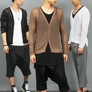 Sexy Guy Slim Fit See Through Mesh Knit Cardigan